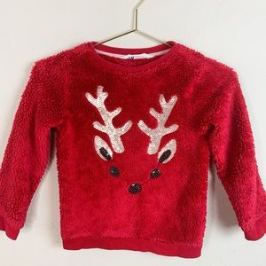 H & M Christmas Reindeer Holiday Sequins Sweater